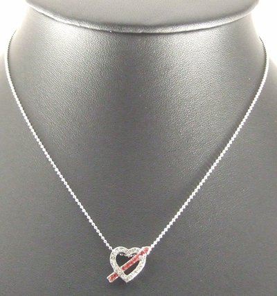 Love Arrow Heart Pendant Charm Chain Rhodium Necklace
