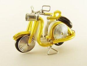 Yellow  Vespa  Motorbike  Motorcycle  Aluminium  Wire  Model  Handmade  Craft