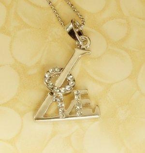 LOVE  Alphabet  Letter  Pendant Charm Rhodium Chain Necklace