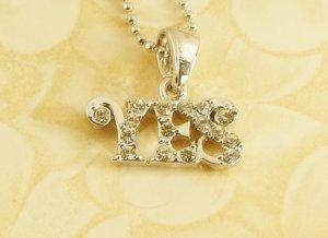 YES  Alphabet  Letter  Pendant Charm Rhodium Chain Necklace