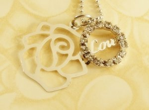Love &  Rose  Pendant  Charm  Rhodium  Necklace  Chain