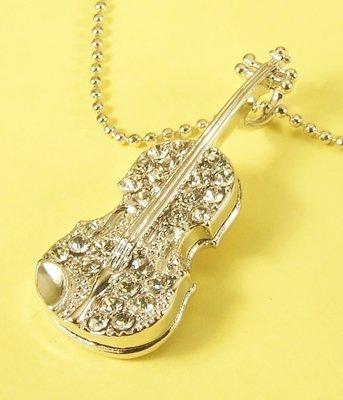 Guitar  Pendant Charm Rhodium Necklace Chain