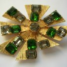 Vintage Costume gold tone broach with clear and green stones, unsigned