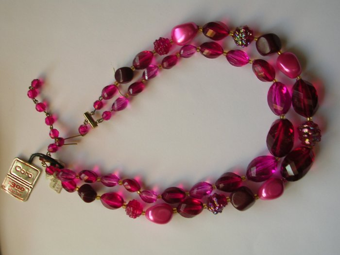 Vintage Coro W. Coro Pink and Purple Beaded Necklace with original tags