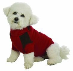 Large Dog Suede Patch Sweater - Red