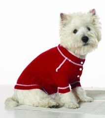 Small Dog Henley Sweater - Red