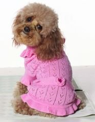 X Small Dog Pointelle Sweater Dress Pack - Pink