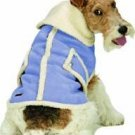 X Small Dog Suede Faux Shearling Coat - Blue