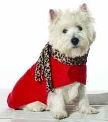 X Large Dog Leopard Scarf Coat - Red