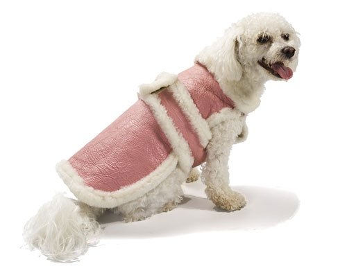 X Small Dog Genuine Shearling Coat - Pink
