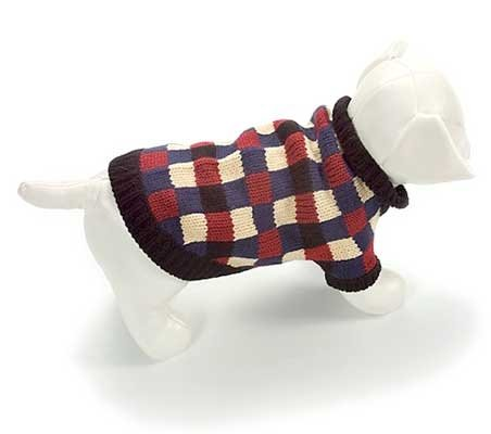 Small Dog Barney Sweater - Blue/Cream/Burgundy