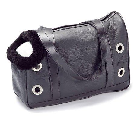 Genuine Shearling Dog Carrier - Black
