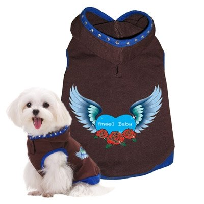 Large Dog Angel Hoodie - Blue