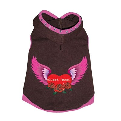 Large Dog Angel Hoodie - Pink