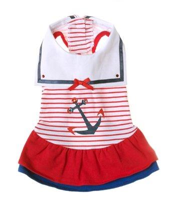 Large Dog Sailor Day Dress - Red