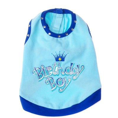 X Small Dog Birthday Boy Tank - Blue