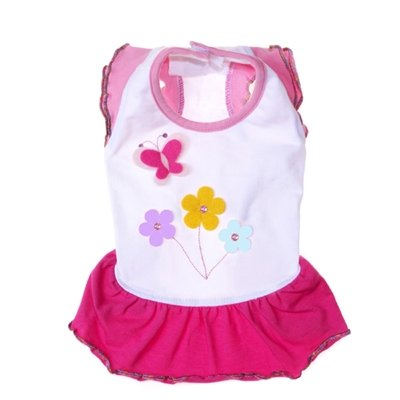 X Small Dog Butterfly Day Dress - White/Pink