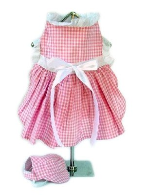 Medium Gingham Dog Dress With Visor - Pink