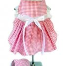 Large Gingham Dog Dress With Visor - Pink