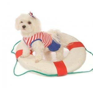 Large Striped Dog Sailor Girl Tank Dress