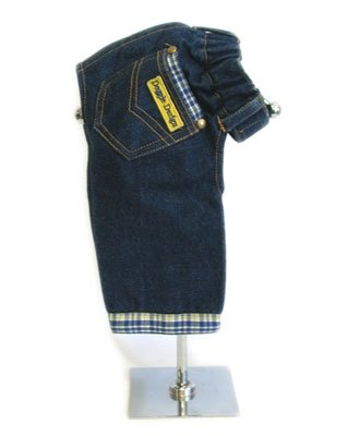 XX Small Designer Dog Jeans With Blue & Yellow Plaid Trim