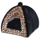 Leopard Print Plush Dog Tent Bed