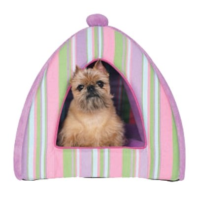 Pink & Lavender Striped Plush Dog Tent Bed