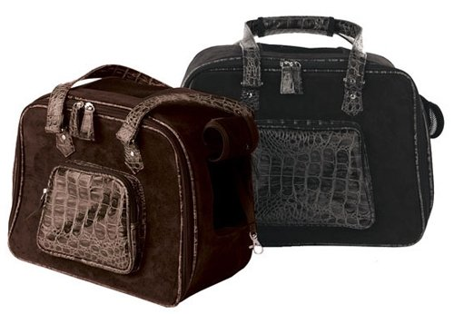 Faux Suede Croco Dog Carrier - Brown