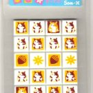 kawaii San-x seal market acorns and hamsters tile sticker sheet 1999