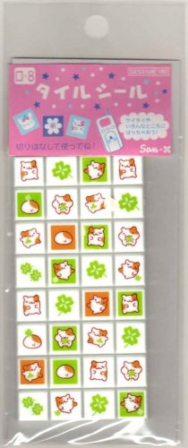 kawaii San-x seal market clover hamsters sticker sheet 2000