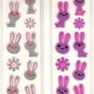 kawaii San-x seal market white and purple rabbits sticker sheets 1998