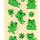 San-x seal market green frog sticker sheet 1997