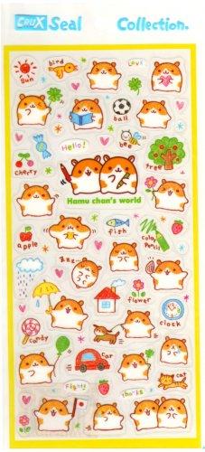 kawaii Crux color pencil hamu chan world sticker sheet