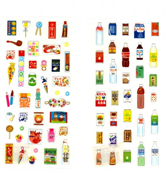 Japanese snacks and drinks sticker sheet lot 2 pieces