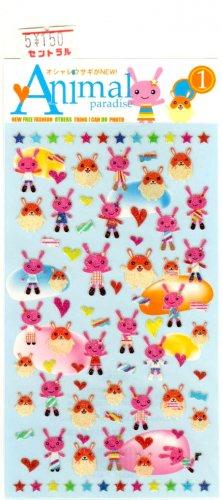 kawaii animal paradise sticker sheet