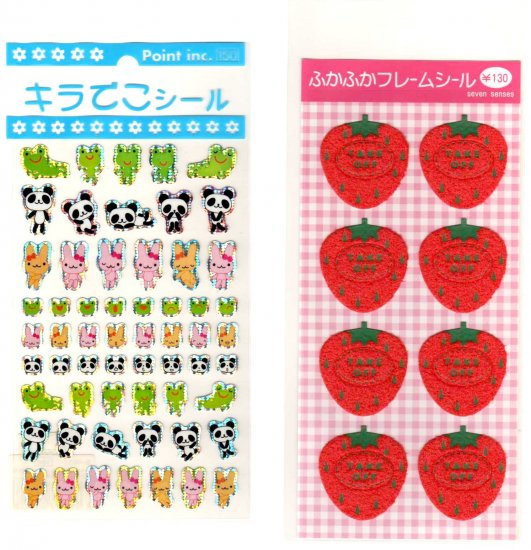 kawaii animals and strawberries sticker sheet lot