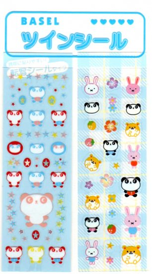 kawaii Basel panda and hamsters sticker sheet