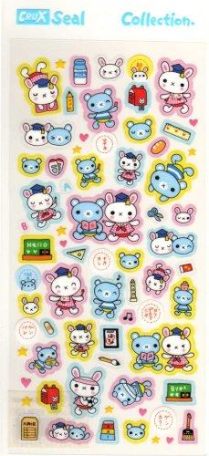 kawaii Crux seal collection bear and rabbit students sticker sheet