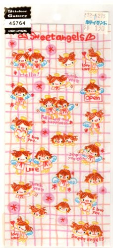 kawaii Kamio Japan sweet angels sticker sheet USED