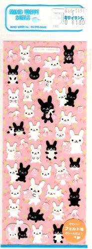 kawaii Mind Wave black and white rabbits sticker sheet