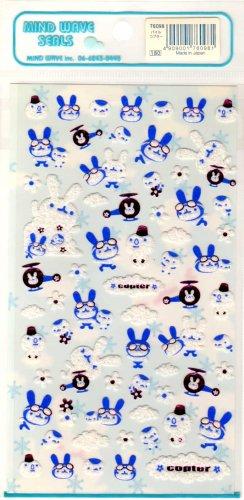 kawaii Mind Wave copter rabbits sticker sheet