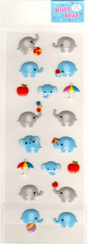 kawaii Mind Wave elephant puff seal sticker sheet