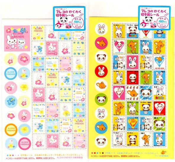 kawaii Preco aloha friends and animals sticker sheet lot
