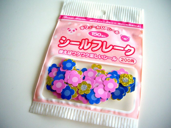 Kamio Japan tricolored flowers sticker sack