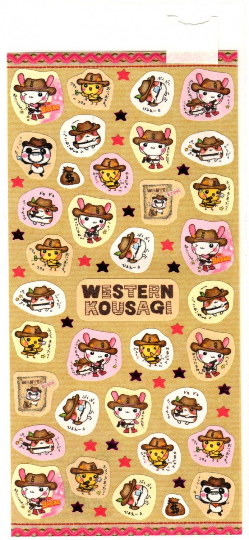 kawaii Q-lia western kousagi sticker sheet