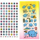 Mischevious elephant and alphabet sticker sheets lot