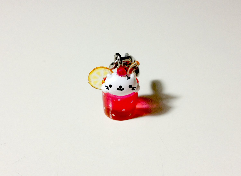 San-x Nyanko pink lemonade mini charm USED