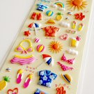 Clothes Pin Japan summer vacation puffy sticker sheet