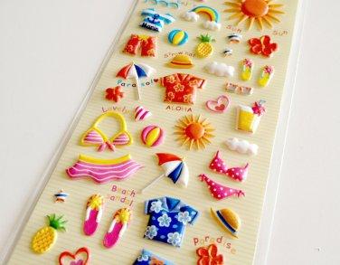 Clothes Pin Japan summer vacation puffy sticker sheet
