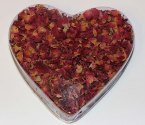 Freshly Dried Red Rose Petals in a Heart Shaped Box